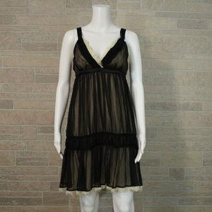 RYU Sheer Black Lacy Empire Babydoll Dress Boho